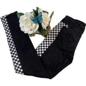Royal Bones Checker Skinny Split Jeans
